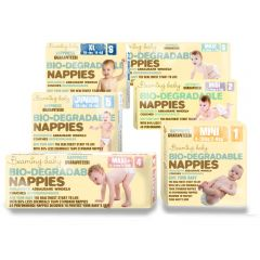 Beaming Baby Nappies, All Sizes Group Photo - Beaming Baby Bio-Degradable Nappies No Nappy Rash after 7 Days or Your Money Back