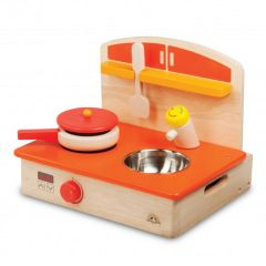 Made using sustainably harvested wood Beaming Baby My Portable Cooker Wooden Toddler Toy 36 Months +