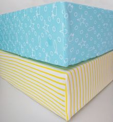 Beaming Baby Organic Cotton Fitted Sheet Chemical-Free! Pack of 2 - Turquoise & Stripe