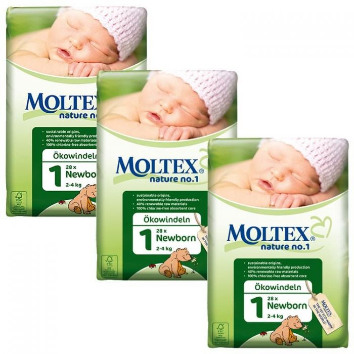 Size 1 PACK of Moltex Nature No.1 Newborn Nappies 23 nappies per pack
